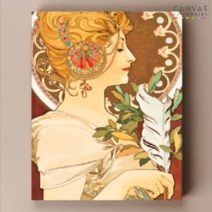 Canvas by Numbers Feather - Alphonse Mucha - Best Paint by Number Kits for Beginners: Soft and Fragile Feather
