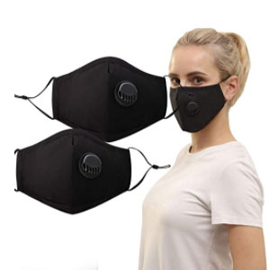 Feeke 2 Pack Unisex Reusable Cotton Cover with Breathing Valve - Best Masks for Teachers: Mask with Breathing Valve