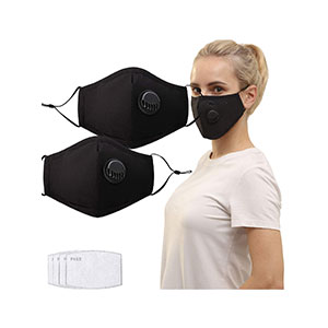 Feeke 2 Pack Unisex Reusable Cotton Cover - Best Masks for Glasses Wearers: Elastic and Washable Mask With Valve