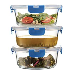 Finedine Superior Glass Round Meal Prep Containers - Best Food Storage Container: Thick, high quality glass