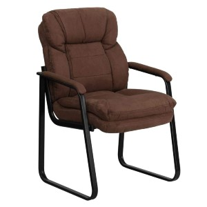 Flash Furniture Brown Microfiber Executive Side Reception Chair with Lumbar Support and Sled Base - Best Office Chair Without Wheels: Ultimate Comfort