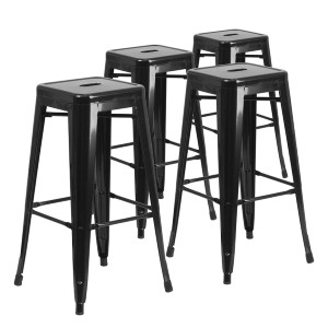Flash Furniture High Backless Black Metal Indoor-Outdoor Barstool - Best Outdoor Bar Stool: Sturdy Metal Bar Stool with Glides