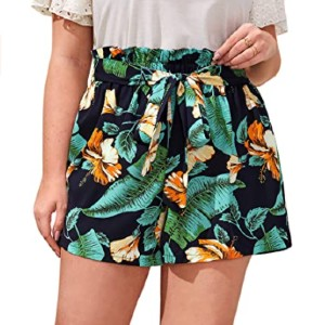 Floerns Casual Floral Elastic Waist Shorts - Best Shorts for Big Thighs: Short with Floral Design