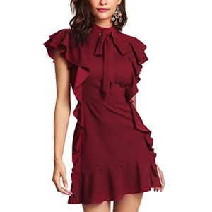 Floerns Women's Tie Neck Ruffle Hem Party Dress - Best Party Wear Dress for Ladies: Sophisticated and elegant