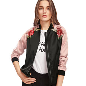 Floerns Women's Casual Short Embroidered Floral Bomber Jacket - Best Jacket for Summer: Bomber jacket with embroidery floral and bird