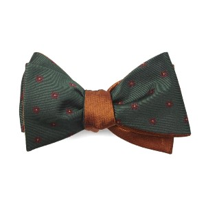 Tie Bar Floral Wave Herringbone Hunter Green Bow Tie - Best Ties for White Shirts: Two in one!