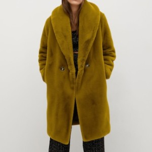 Mango Fluffy long coat - Best Winter Coats for Women: Button Fastening on the Front Section