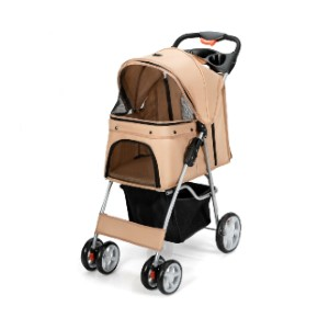 COSTWAY Foldable 4-Wheel Pet Stroller  - Best Dog Strollers for Small Dogs: Mesh Windows and Adjustable Canopy