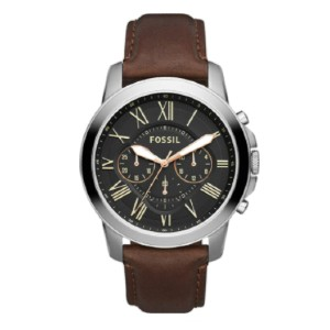 Fossil Grant Stainless Steel and Leather Chronograph Quartz Watch - Best Waterproof Watches: Quartz Movement with Analog Display