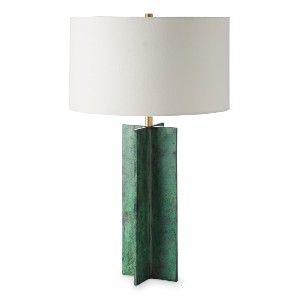 Williams Sonoma Frederick Metal X Table Lamp, Verdi Gris - Best Lamp for Livingroom: Unique combination of body and shade