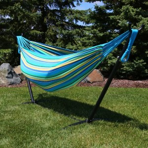 Freeport Park® Mira Double Classic Hammock with Stand - Best 2-Person Hammock with Stand: Striped Pattern Hammock