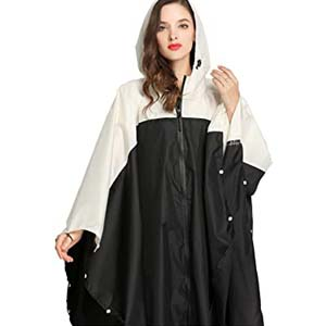 Freesmily Women's Stylish Rain Poncho - Best Raincoats for Hiking: Women will be confused about which one to choose
