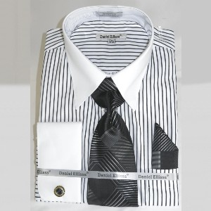 Suit Secret French Cuff Dress Shirt and Tie Set - Best Ties for Striped Shirts: Gets the job done