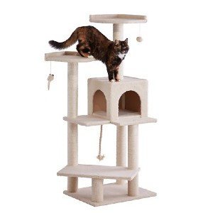 Frisco 57-in Faux Fur Cat Tree & Condo - Best Cat Toys for Indoor Cats: All-In-One Cat Tree and Condo