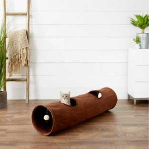 Frisco 47-in Foldable Crinkle Play Tunnel with 2 Windows - Best Cat Toys for Indoor Cats: Lightweight Cat Tunnel
