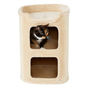 Frisco 24-in 2-Story Faux Fur Cat Condo - Best Cat Beds for Kittens: Two roomy apartments