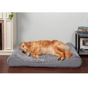 FurHaven Ultra Plush Luxe Lounger Orthopedic Cat & Dog Bed w/Removable Cover - Best Dog Beds for Large Dogs: Bed with Therapeutic Back and Neck