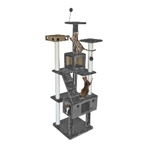FurHaven Tiger Tough Tall Cat Tree - Best Cat Tree for Multiple Cats: Cat Tree with Variety of Activities