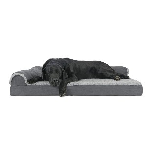 FurHaven Plush Orthopedic Sofa - Best Dog Beds for Medium Dogs: Bed with L-Shaped Design