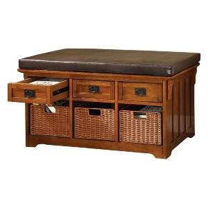 Furniture of America Victoria 42-Inch Wide Storage Entryway Bench with Baskets - Best Entryway Benches: Bench with Multiple Storages