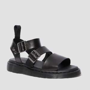 Dr. Martens GRYPHON BRANDO LEATHER GLADIATOR SANDALS - Best Walking Sandals for Men: Two Buckles for A Perfect Fit