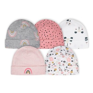 Gerber Newborn 5-Pack Bear Hats in Pink/White - Best Beanies for Babies: Cute Prints and Accents