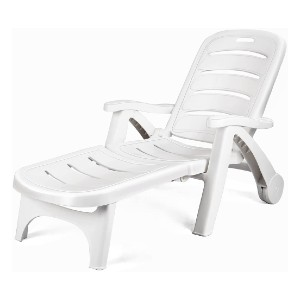 Giantex Folding Lounger Chaise Chair on Wheels - Best Poolside Chaise Lounge: High Back Outdoor Chaise Lounge