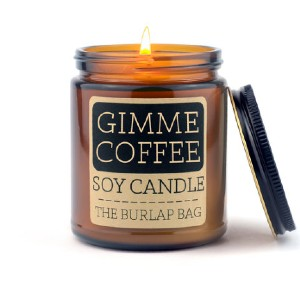 The Burlap Bag gimme coffee 9oz soy candle - Best Coffee Scented Candles: Scented Candle with An Amber Glass Jar
