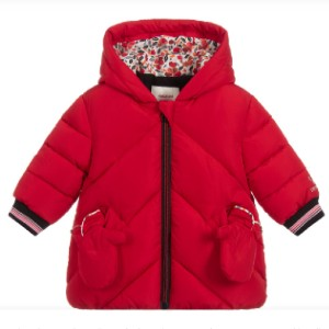 Catimini Girls Red Hooded Puffer Coat - Best Coats for Toddlers: Detachable Mittens Secured with Poppers