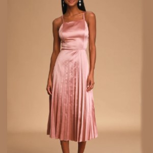 Lulus Give us a Twirl Rose Pink Satin Pleated Midi Dress - Best Dress for Reception Party: Alluring open back