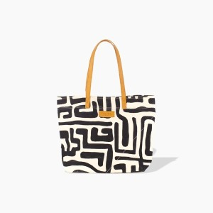 Ubuntu Life Go-To Tote in Black & Eggshell - Best Tote Bags for Travel: Magnetic Button Closure