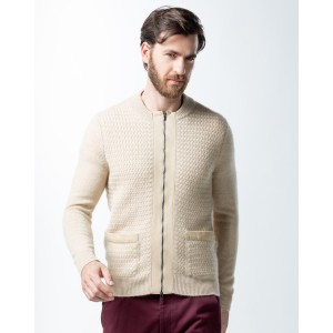 Gobi Suede Trim Cardigan - Best Cardigans for Men: Simple Cable Knit Cashmere Cardigan
