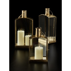 JamaliGarden Gold Oblong Lanterns - Best Candle Lanterns: Easy to Decorate With