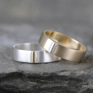 A Second Time Gold & Silver Wedding Bands - Best Couple Rings for Engagement: Matte finish