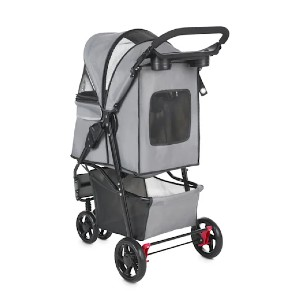 Good2Go Paws Up Reflective Gray Pet Stroller - Best Dog Strollers for Small Dogs: Keeps Your Pup Protected