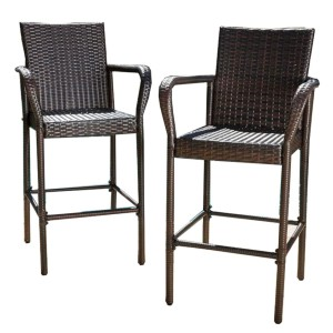 Great Deal Furniture Christopher Knight Home Stewart Outdoor Bar Stool - Best Bar Stools with Backs: Hand-Woven Polyethylene Wicker Bar Stool