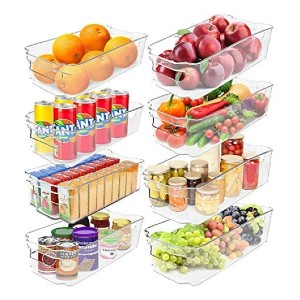 Greenco Clear Bins Stackable Storage Organizer Containers - Best Storage Containers for Kitchen: Great for fridge