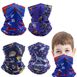 Gropecan 4 Pcs Kids Neck Gaiter Balaclava and Reusable Face Cover Bandana Mask - Best Masks for Kids: Kids Mask with Neck Protection