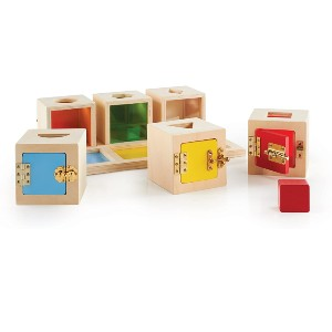 Guidecraft Peekaboo Lock Boxes with Storage Tray - Best Wooden Toys for Toddlers: Dealing with latches