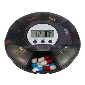 HHORB 7 Day Pill Organizer  - Best Pill Boxes with Alarm: Cool Black Color Pillbox
