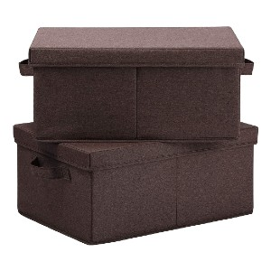 HOONEX Linen Foldable Storage Bins - Best Storage Containers for Books: Ample space for books