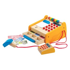 Hape Checkout Register Kid's Wooden Pretend Play Set - Best Wooden Toys for Toddlers: Learn basic mathematical skills