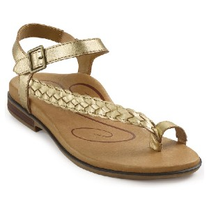 Aetrex Evie Gold Leather - Best Sandals for Arch Support: Pretty Braided Leather Strap