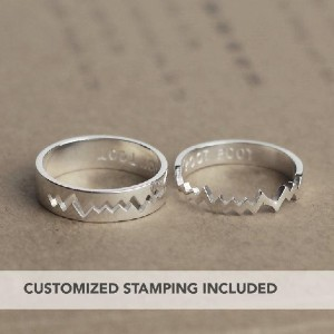 JewelryRB Heartbeat Promise Rings For Couples - Best Couple Rings for Engagement: Visualize your heart racing