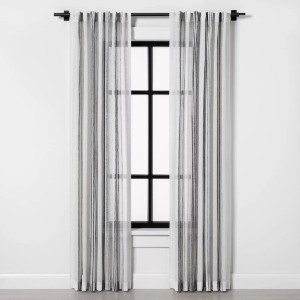 Hearth & Hand™ with Magnolia Vertical Stripe Curtain Sheer Gray  - Best Curtains for Living Room: Simple Sheer Curtain