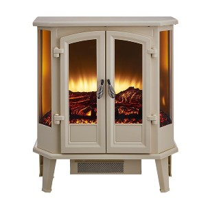 HearthPro Cream Infrared Electric Fireplace Stove  - Best Electric Fireplace for RV: Lovely 5-paneled glass front