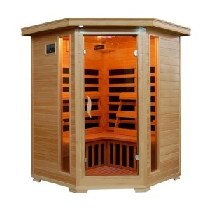 HeatWave 3-Person Hemlock Corner Infrared Sauna with Carbon Heaters - Best Sauna for Home: Sauna with Sound Stereo System