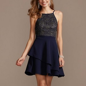 Speechless  High Neck Layered Scuba Fit-and-Flare Mini Dress  - Best Dress for Reception Party: Sparkling caviar beading