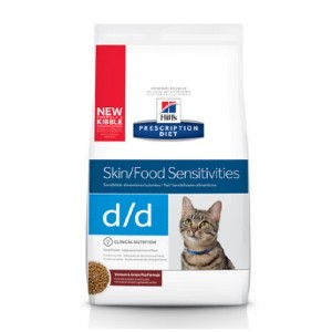 Hill's Prescription Diet Diet d/d Skin/Food Sensitivities Venison & Green Pea Formula Dry Cat Food - Best Food for Cats with Allergies: Venison and Green Pea Formula