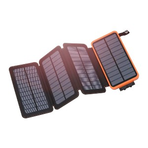 Hiluckey Solar Charger 25000mAh - Best Power Banks for Backpacking: Foldable 4 Solar Panels